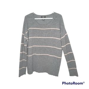 Lord & Taylor 100% Cashmere Gray Pink Stripe Long Sleeve Crew Neck Sweater XL